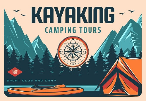 Kayaking sport club camping and hiking tour banner