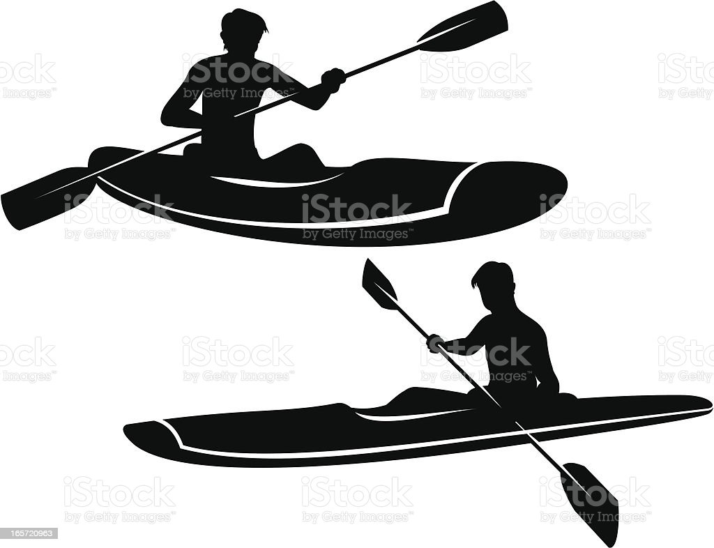 Kayaking vector art illustration
