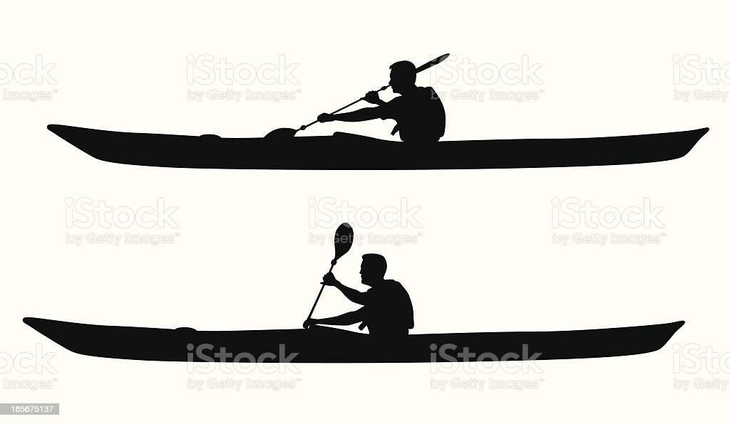 Kayaking Vector Silhouette royalty-free stock vector art