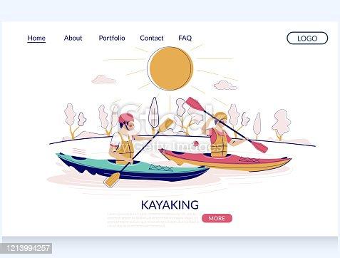 istock Kayaking vector website landing page design template 1213994257
