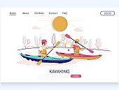 Kayaking vector website landing page design template