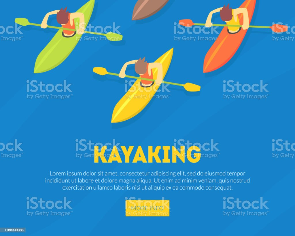 Kayaking Water Sport Landing Page Template, Athletes Paddling Kayaks,...