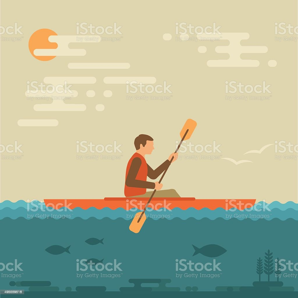 kayaking water sport, vector art illustration