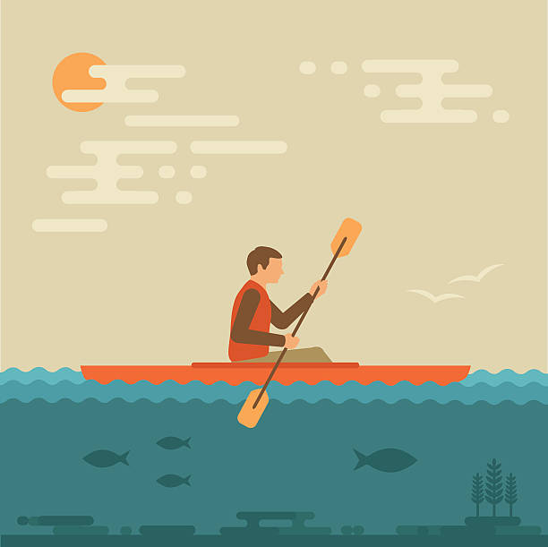 kayaking water sport, - kayaking stock illustrations, clip art, cartoons, & icons