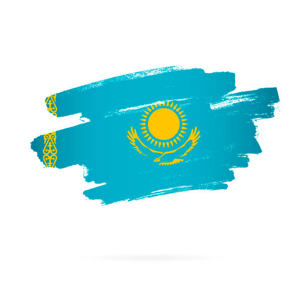 kasachische flagge. vektor-illustration auf weißem hintergrund. - kasachstan stock-grafiken, -clipart, -cartoons und -symbole