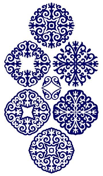 kasachische verzierungen in form eines kreises, 6 stück - kasachstan stock-grafiken, -clipart, -cartoons und -symbole