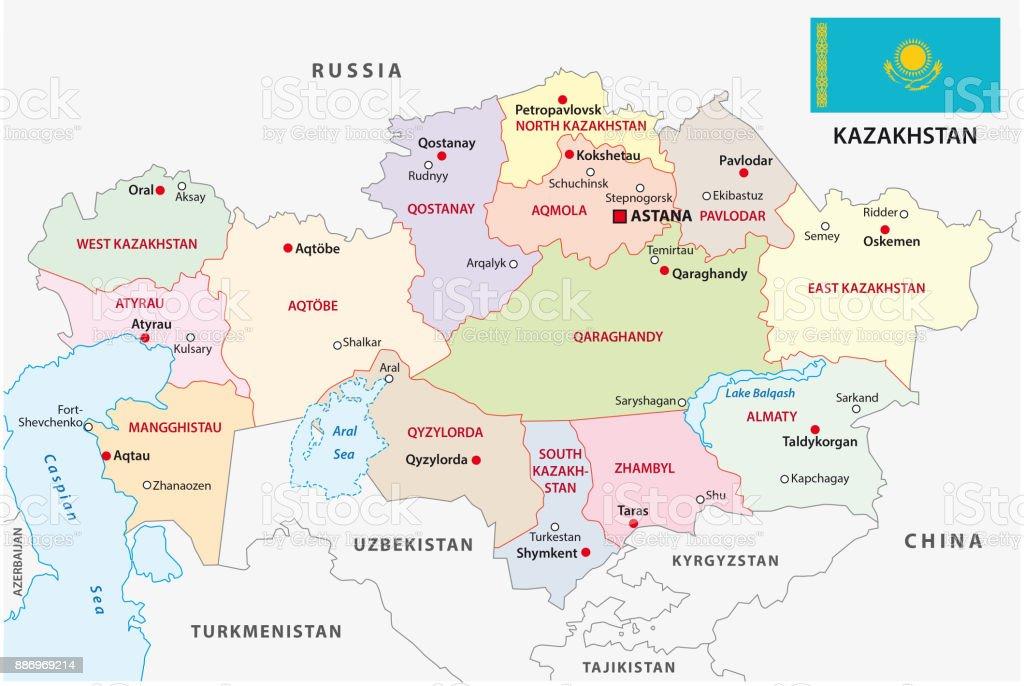 kazakhstan administrative map with flag vector art illustration