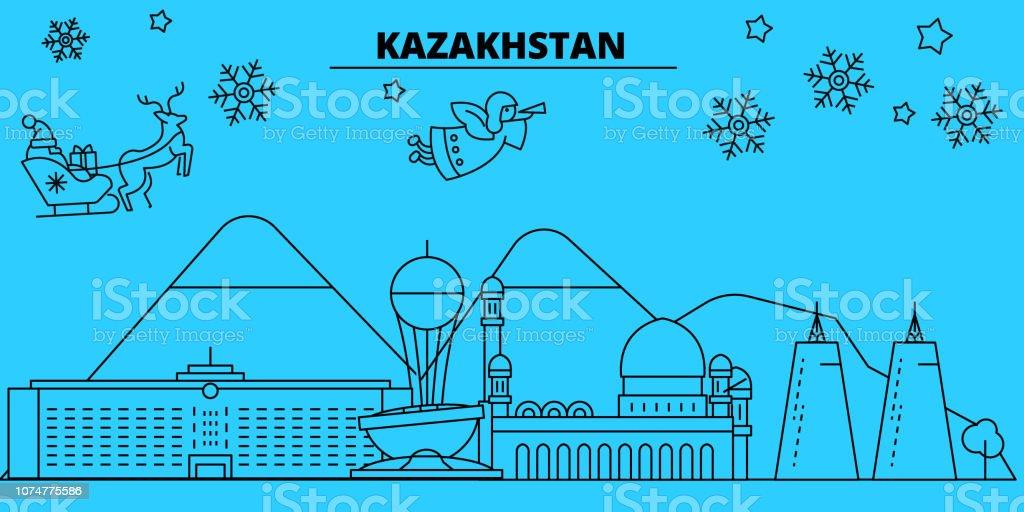 Kazakhstan, Alma-ata, Astana winter holidays skyline. Merry Christmas, Happy New Year decorated banner with Santa Claus.Kazakhstan, Alma-ata, Astana linear christmas city vector flat illustration vector art illustration