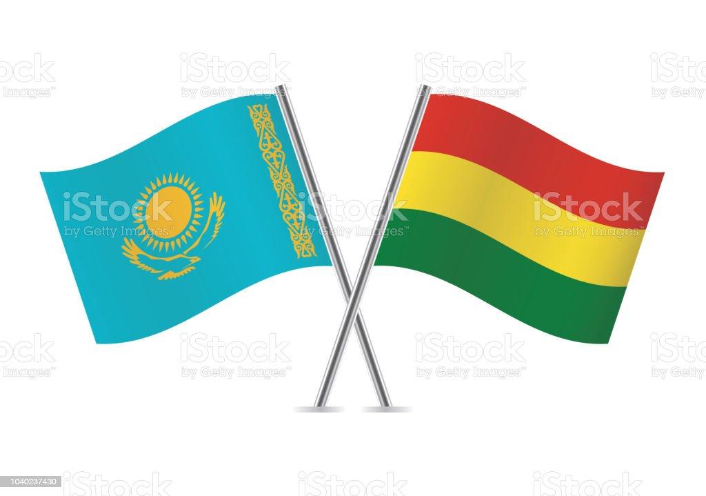Banderas de Bolivia y Kazajstán. Ilustración de vector. - ilustración de arte vectorial