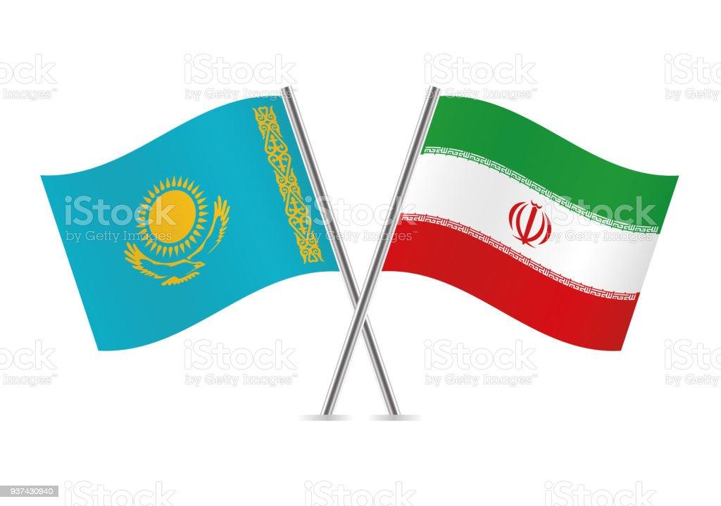 Bandeiras do Cazaquistão e o irão. Ilustração em vetor. - ilustração de arte em vetor