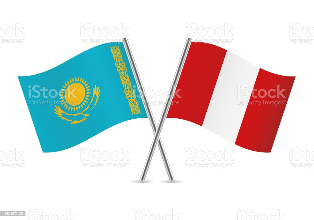 Drapeaux de Kazakhstan et au Pérou. Illustration vectorielle. - Illustration vectorielle
