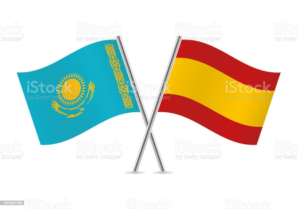 Kazakhstan and Spain flags. Vector illustration. vector art illustration