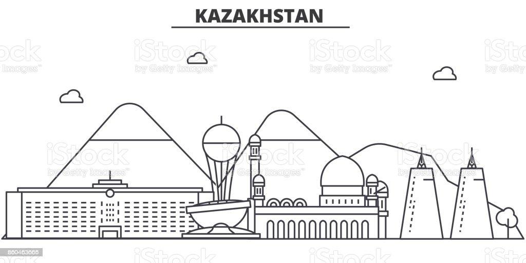 Kazakhstan architecture line skyline illustration. Linear vector cityscape with famous landmarks, city sights, design icons. Landscape wtih editable strokes vector art illustration