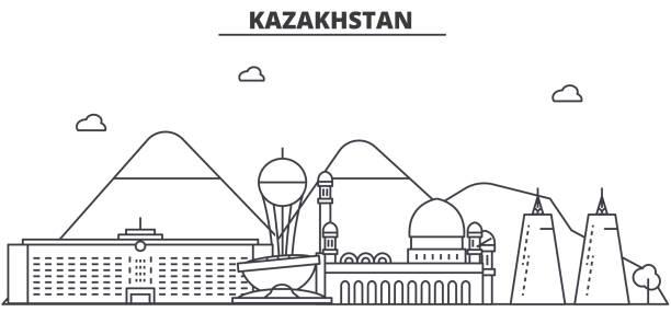 kasachstan architektur linie skyline abbildung. linearer vektor stadtbild mit berühmten sehenswürdigkeiten, sehenswürdigkeiten der stadt, design-ikonen. landschaft mit editierbaren striche - kasachstan stock-grafiken, -clipart, -cartoons und -symbole