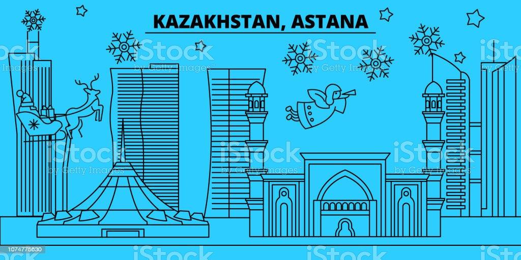 Kazakhstan, Astana winter holidays skyline. Merry Christmas, Happy New Year decorated banner with Santa Claus.Kazakhstan, Astana linear christmas city vector flat illustration vector art illustration