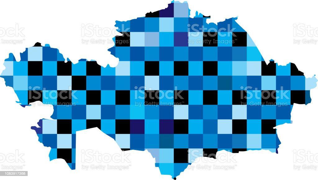 Kazakhstan Blue Squares Map vector art illustration