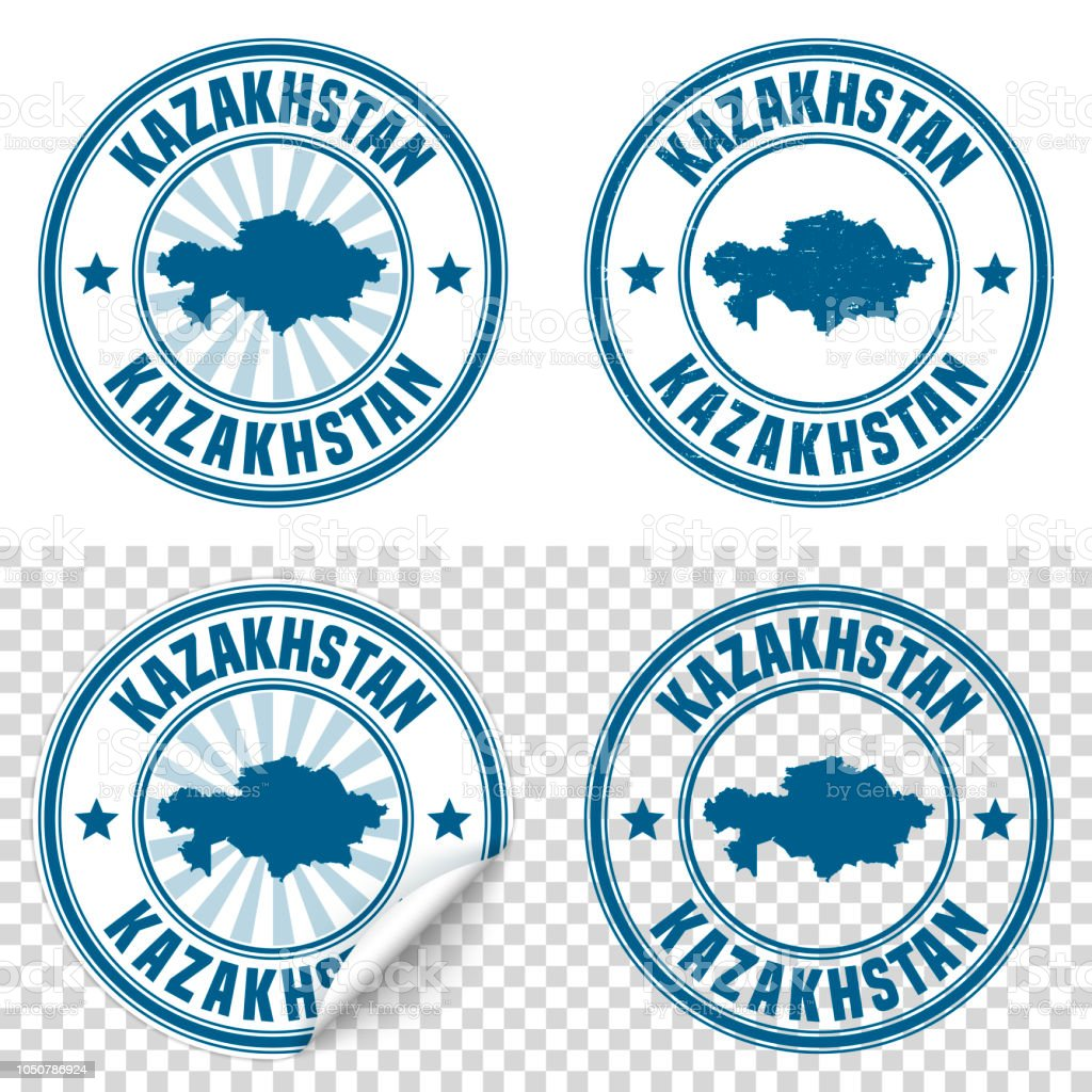 Kazakhstan - Blue sticker and stamp with name and map vector art illustration