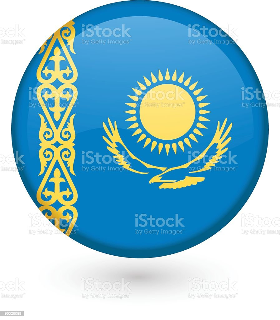 Kazakhstan flag button royalty-free stock vector art