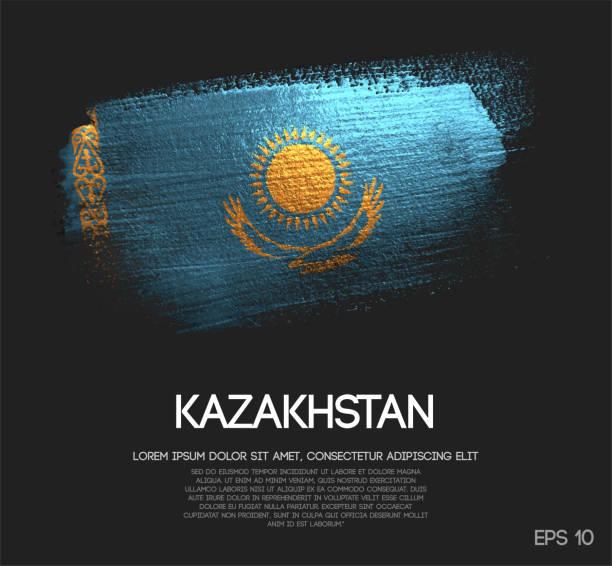 kasachstan-flagge gemacht glitter glitzer pinsel farbe vektors - kasachstan stock-grafiken, -clipart, -cartoons und -symbole
