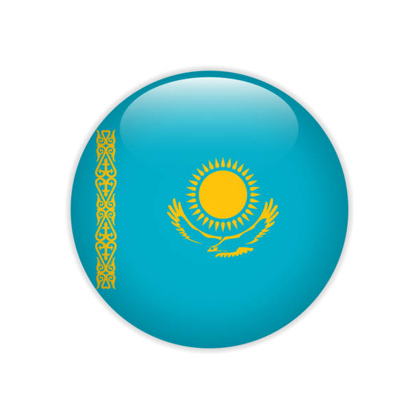 Kazakhstan flag on button Kazakhstan flag on button kazakhstan stock illustrations