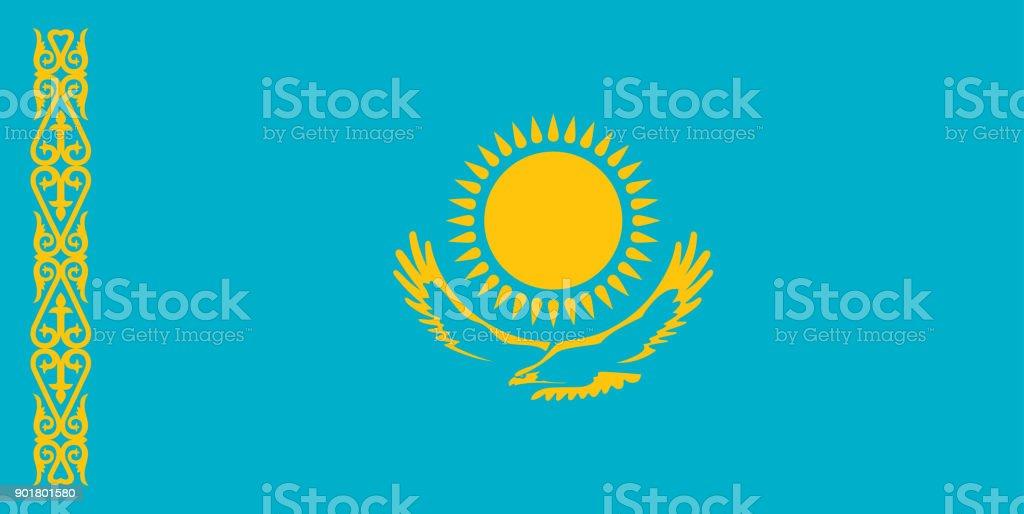 Kazakhstan flag standard size in asia. Vector illustration