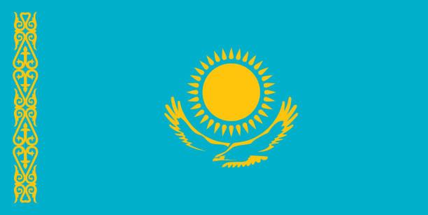 kasachstan flagge standardgröße in asien. vektor-illustration - kasachstan stock-grafiken, -clipart, -cartoons und -symbole