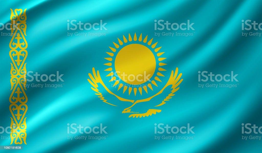 Kazakhstan Flag vector art illustration