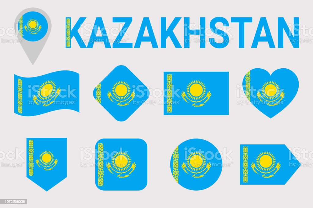 Kazakhstan, flag vector set. Different geometric shapes. Flat style. Kazakh flags collection. can use for sports, national, travel, geographic design elements. isolated icons with state name. vector art illustration