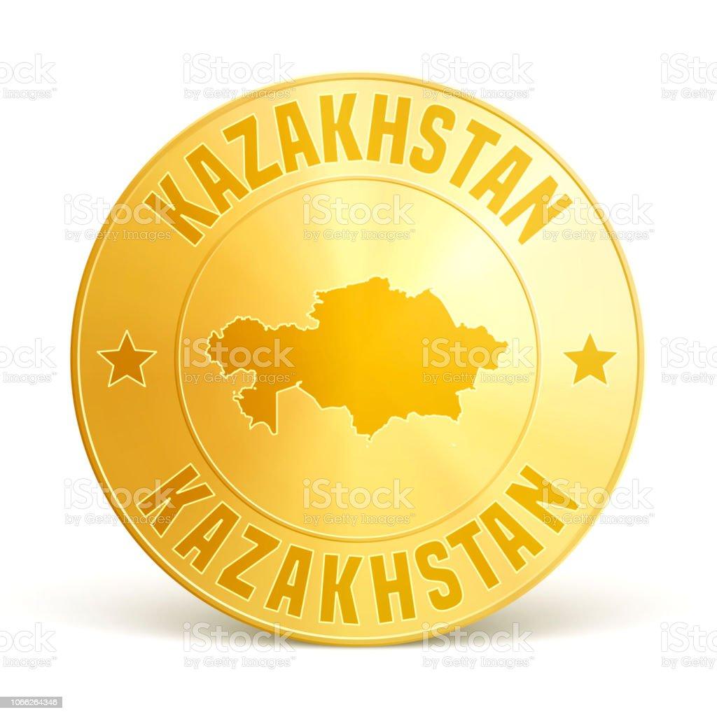 Kazakhstan - Gold coin on white background vector art illustration