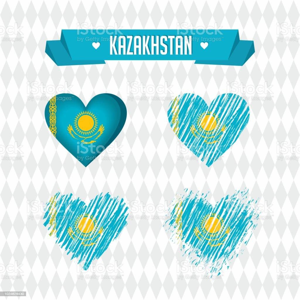 Kazakhstan heart with flag inside. Grunge vector graphic symbols vector art illustration