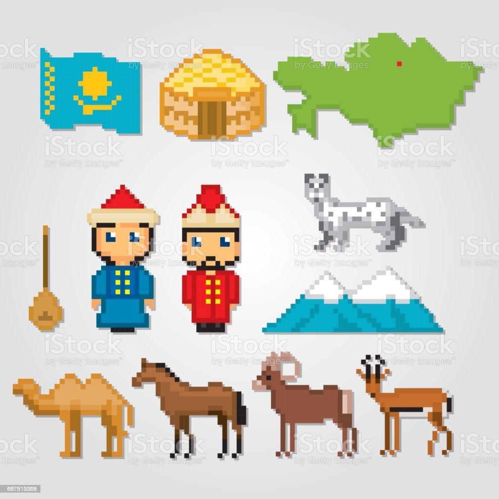 Kazakhstan icons set. Pixel art. Old school computer graphic style. Games elements vector art illustration