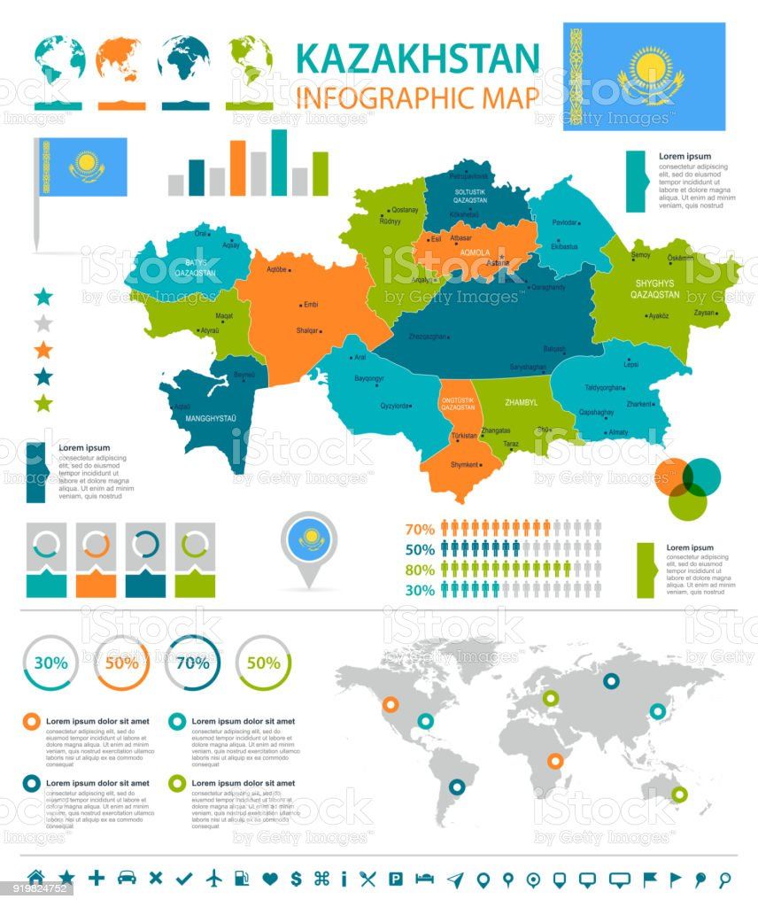 Kazakhstan infographic map and flag detailed vector illustration kazakhstan infographic map and flag detailed vector illustration royalty free kazakhstan infographic map gumiabroncs Images