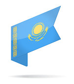 Kazakhstan - Isometric Label Flag Vector Glossy Icon