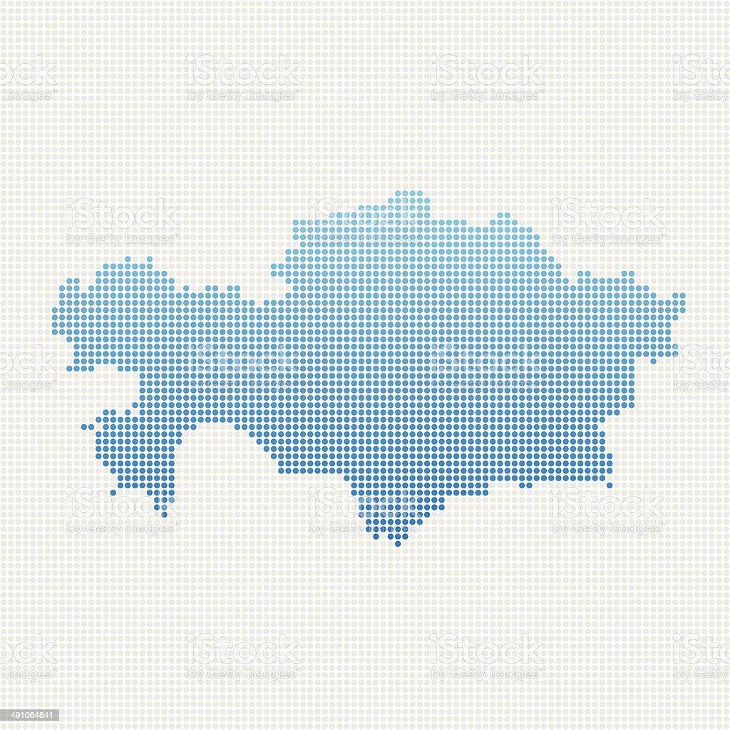 Kazakhstan Map Blue Dot Pattern