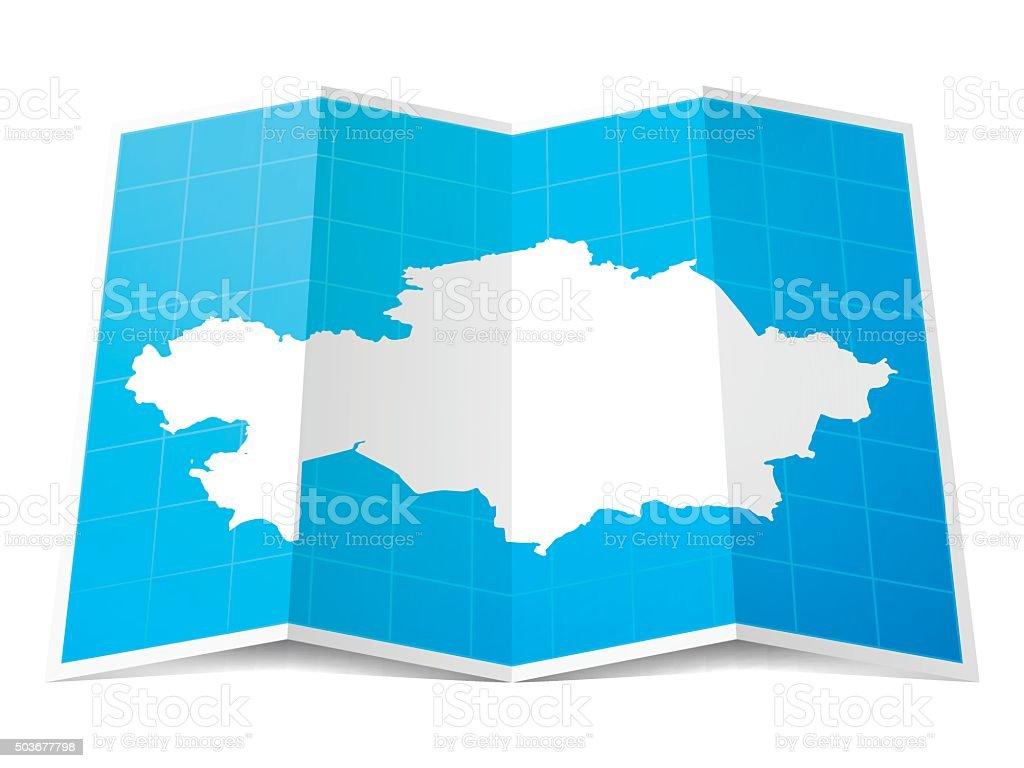 Kazakhstan Map folded, isolated on white Background vector art illustration