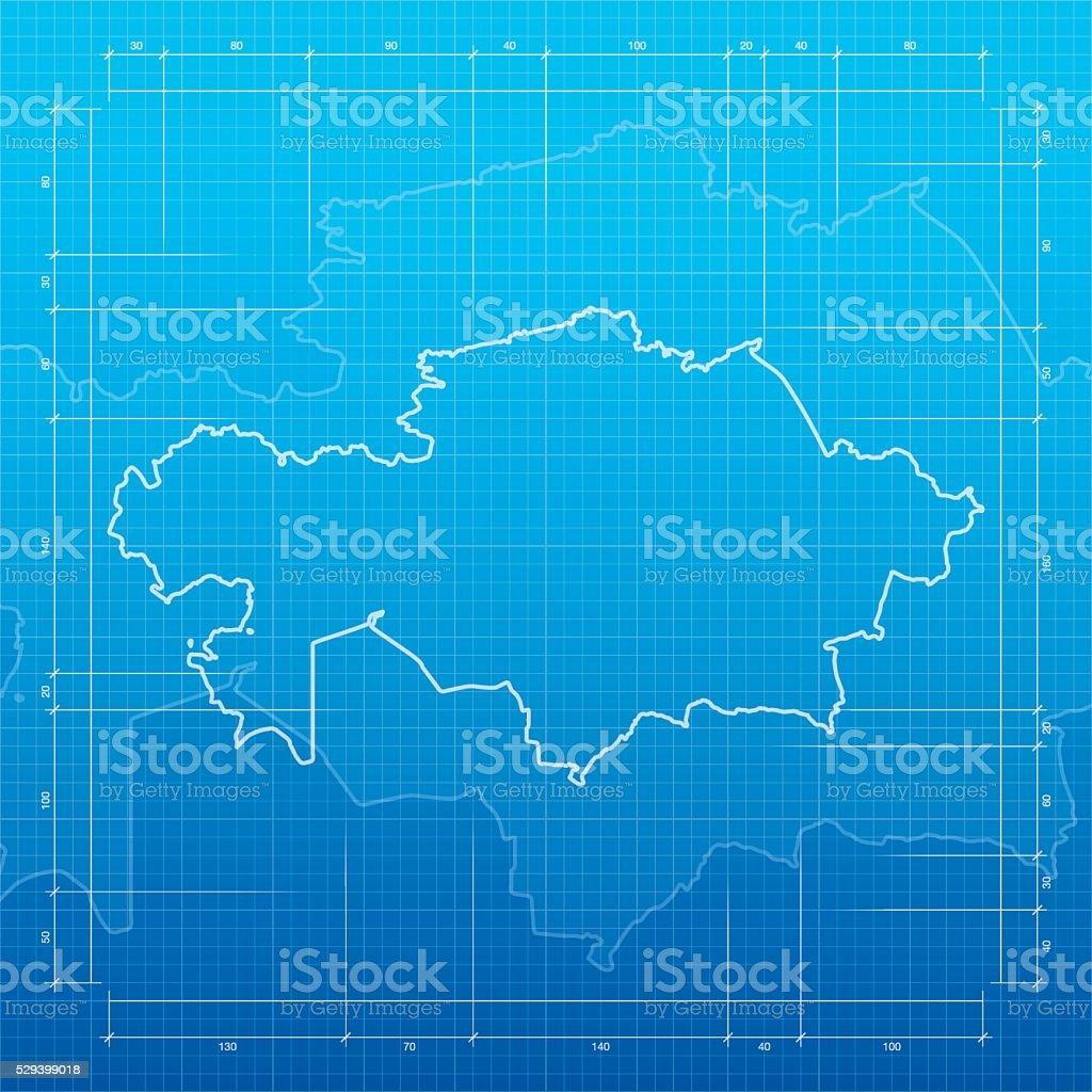Kazakhstan map on blueprint background vector art illustration