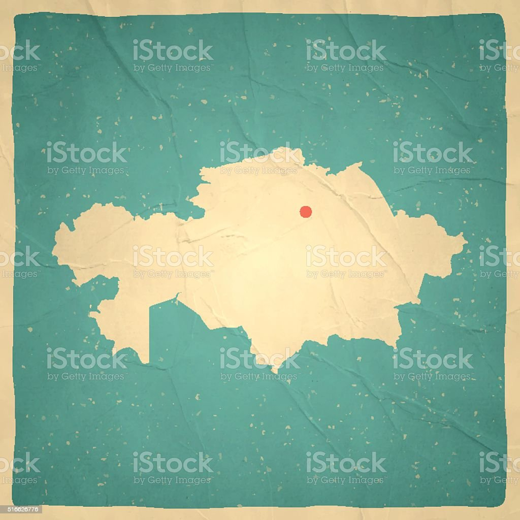 Kazakhstan Map on old paper - vintage texture vector art illustration