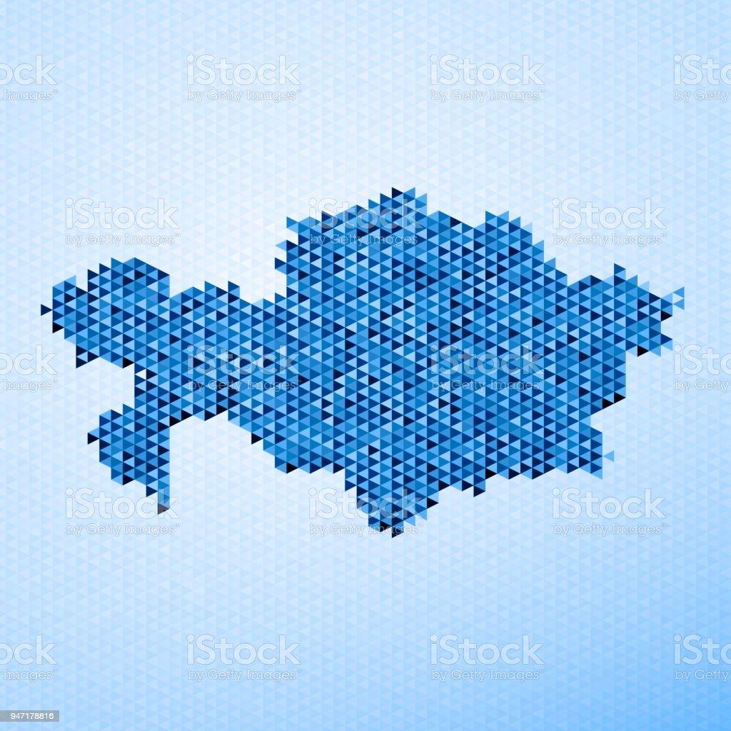 Kazakhstan Map Triangle Pattern Blue