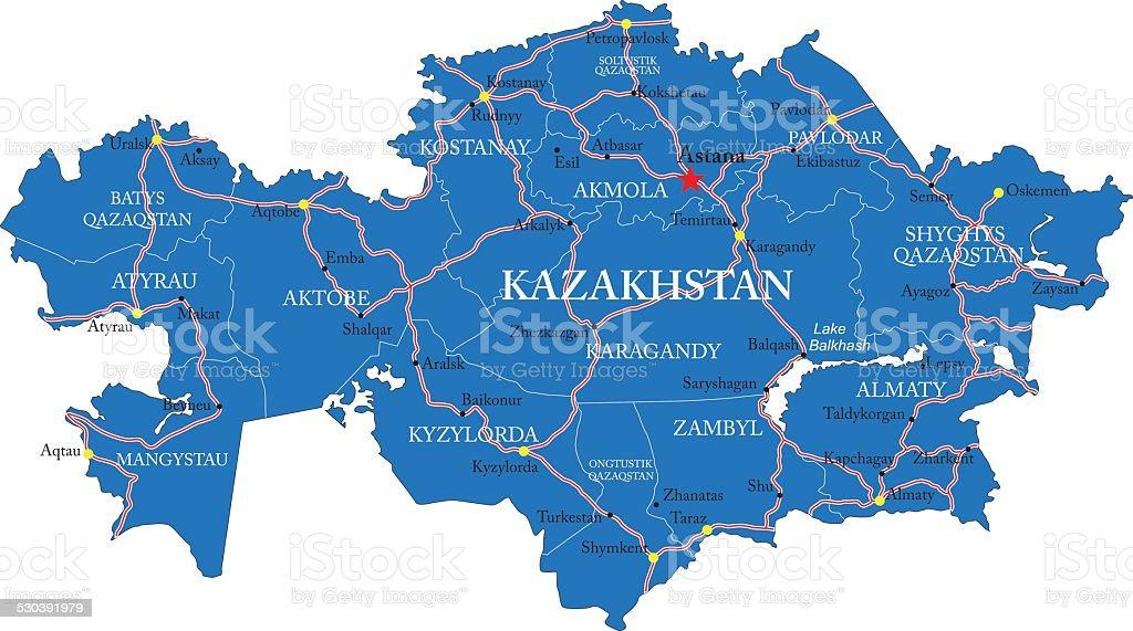 Kazakhstan map vector art illustration