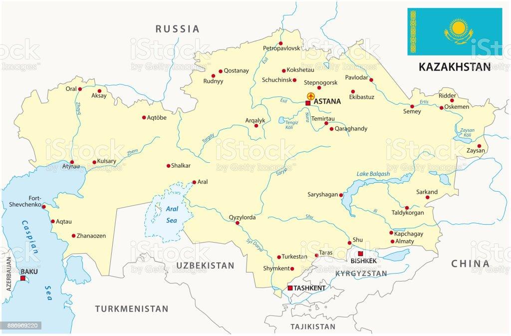 kazakhstan map with flag vector art illustration