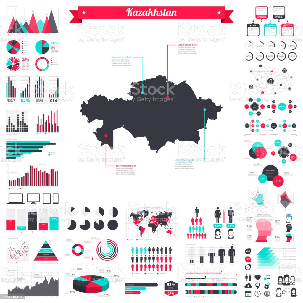Kazakhstan map with infographic elements - Big creative graphic set vector art illustration