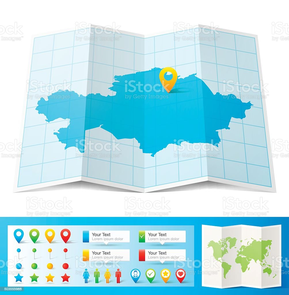 Kazakhstan Map with location pins isolated on white Background