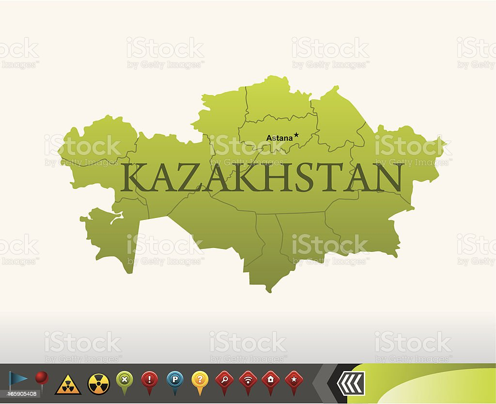 Kazakhstan map with navigation icons royalty-free stock vector art