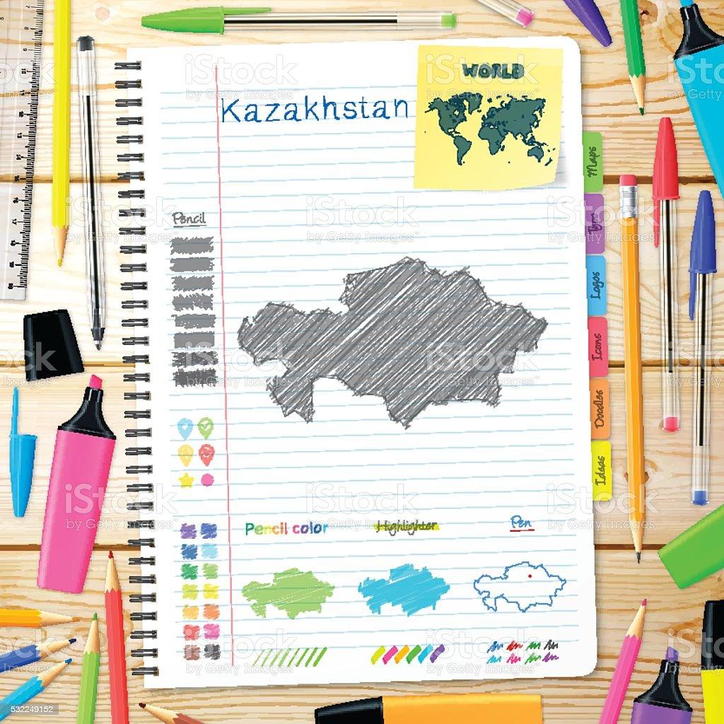 Kazakhstan maps hand drawn on notebook. Wooden Background vector art illustration
