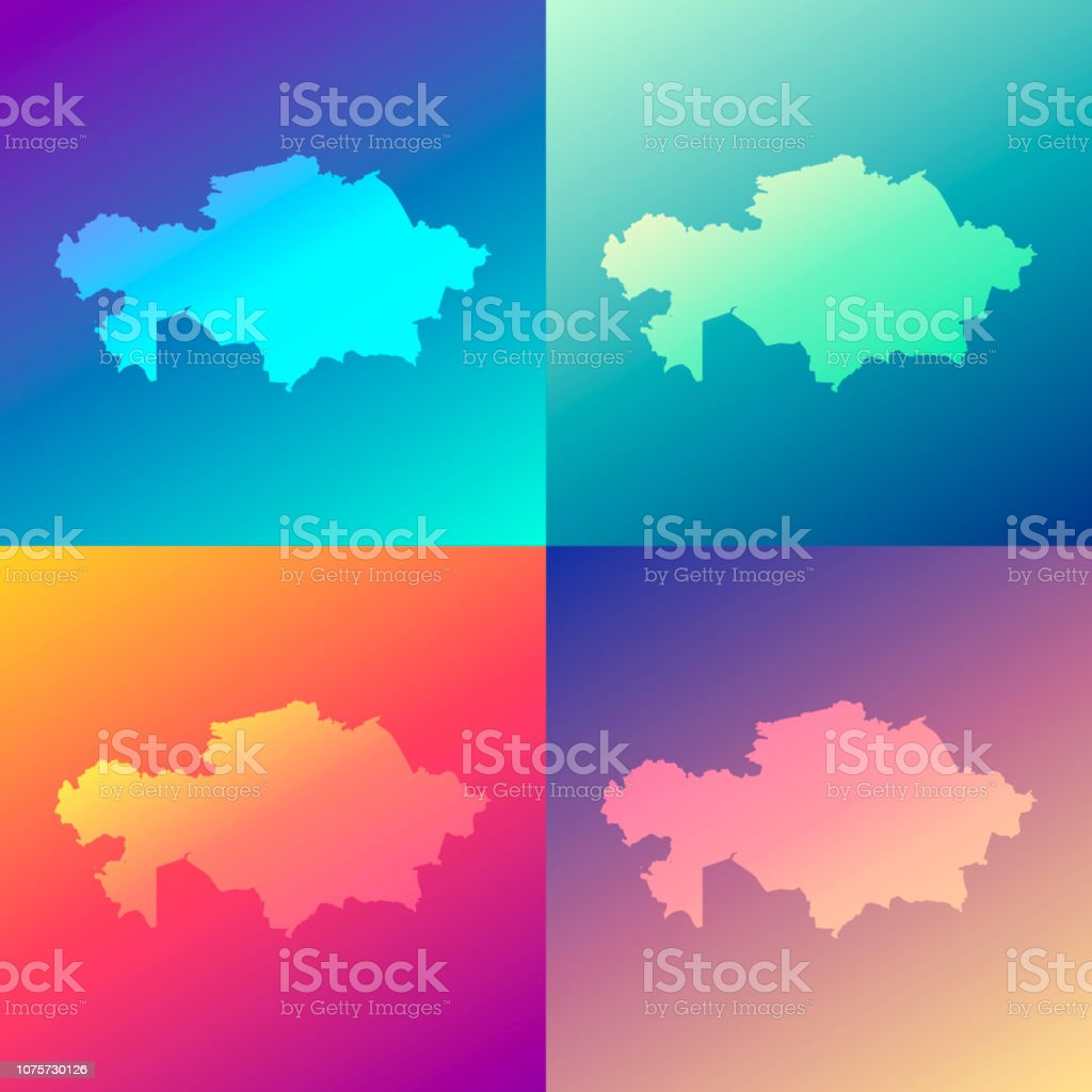 Kazakhstan maps with colorful gradients - Trendy background vector art illustration