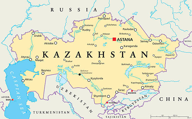 Kazakhstan Political Map Kazakhstan political map with capital Astana, national borders, important cities, rivers and lakes. Republic in Central Asia and the worlds largest landlocked country. English labeling. Illustration. kazakhstan stock illustrations