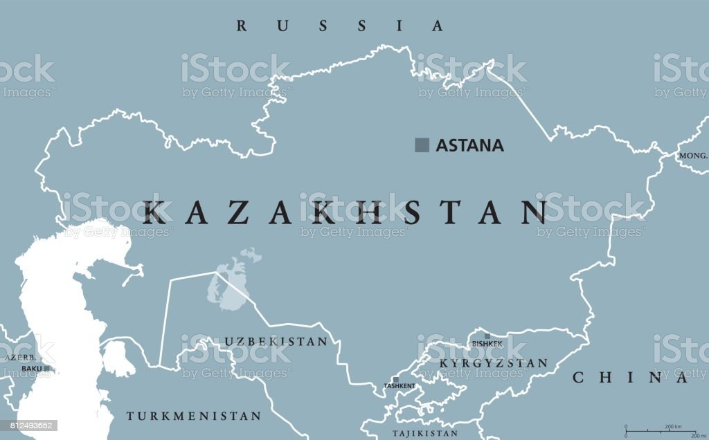 Kazakhstan political map vector art illustration