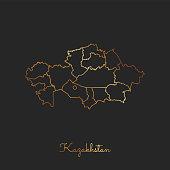 Kazakhstan region map: golden gradient outline on dark background.