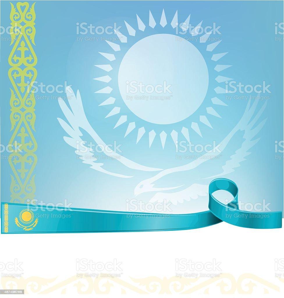 kazakhstan ribbon flag vector art illustration