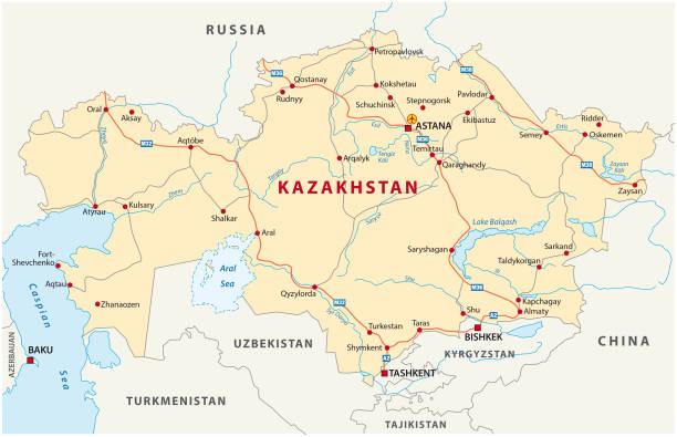 kasachstan-fahrplan - kasachstan stock-grafiken, -clipart, -cartoons und -symbole